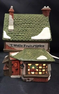 T Wells Fruit and Spice Dept 56 The Heritage Collection Dickens Village Rare EUC