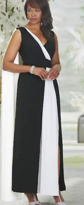 45227604db4 Ashro Black White Formal Cruise Dinner Party Tie Josephine Gown Dress M L  XL 2X