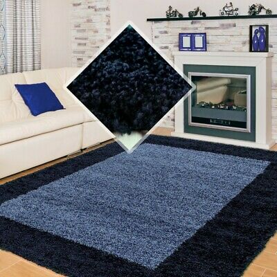 SMALL X EXTRA LARGE THICK 30mm HIGH PILE SOFT NONSHED LIFE SHAGGY RUG-Navy Blue