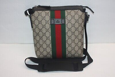 e35e252a0c2 Gucci Monogram Canvas Web GG Supreme Flat Messenger Crossbody Bag 471454   690