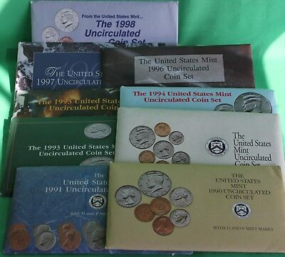 1990 - 1998 Nine Annual P and D Uncirculated 9 BU Sets 91 US Mint Coins with COA