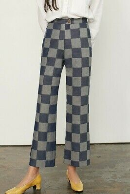 caf02853552d ARLENE PANT Mara Hoffman size 4 Denim Patchwork Checkered (NWT new with  tags)