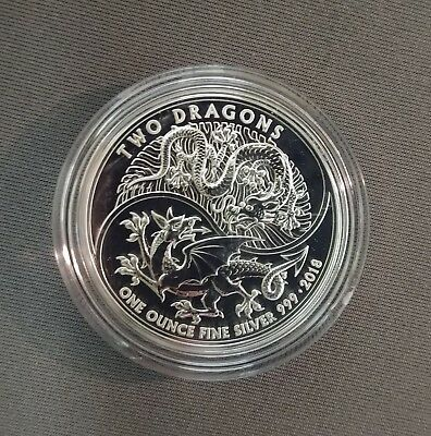 2018 Great Britain 1 oz Silver Two Dragons BU In Mint Capsule **NO RESERVE**