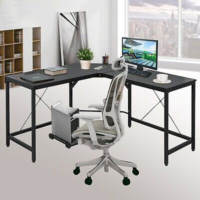 L-Shaped Corner Computer Desk Home Office Easy Install limited room PC Wood