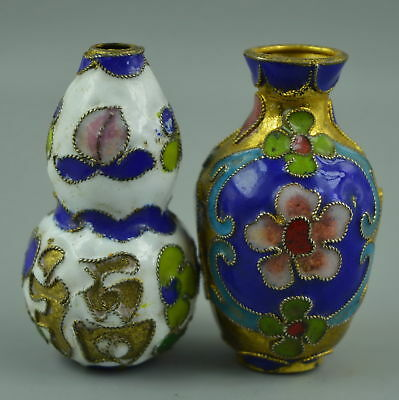 AAA Collect China Handwork Old Cloisonne Carve Flower Rare Delicate Pair Statue