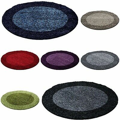 Circle Round Bordered Soft Life Shaggy Rugs 30mm High Pile NonShed Area Rug Mats