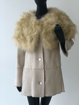 Chanel Shearling Leather Coat w feathers and pearl buttons Size 38