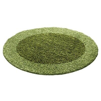 Circle Round Bordered Soft Life Shaggy Rug 30mm High Pile NonShed Area Mat-Green