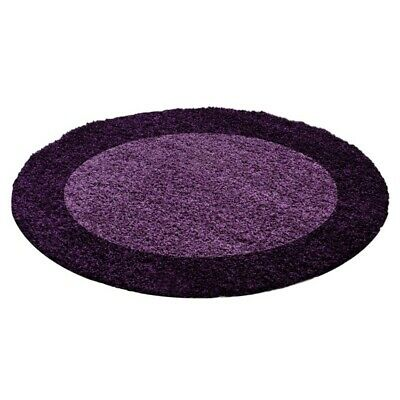 Circle Round Bordered Soft Life Shaggy Rug 30mm High Pile NonShed Mat-Purple
