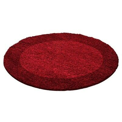 Circle Round Bordered Soft Life Shaggy Rug 30mm High Pile NonShed Area Mat-Red