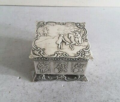 Pretty, Antique Dutch Solid Silver Lidded Box.    6.9Cms Sq.   Import. Lon.1891.