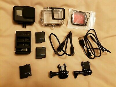 Gopro hero 5 black with waterproof case, extra batteries and external charger