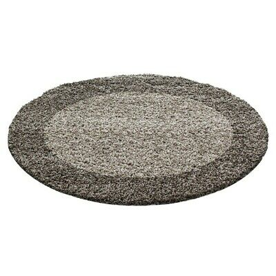Circle Round Bordered Soft Life Shaggy Rug 30mm High Pile NonShed Area Mat-Taupe