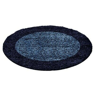 Circle Round Bordered Soft Life Shaggy Rug 30mm High Pile NonShed Mat-Navy Blue