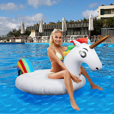 Inflatable Unicorn Floats Bed Pool Floating Raft PVC Inflating Airbeds Water for