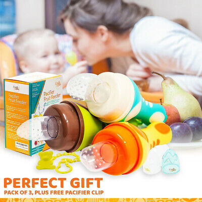Pacifier Fruit Feeder Pack of 3 with Clip - Baby Food Feeder