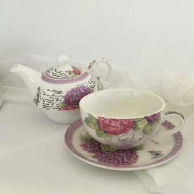 Tea For One Hydrangea Flower Gift Boxed Tea Cup And Teapot Set