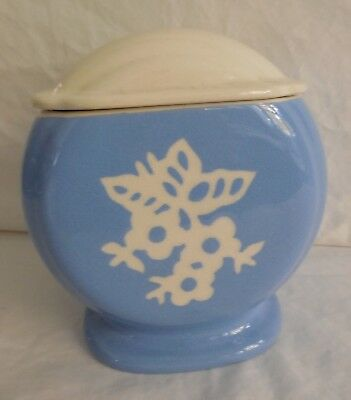 "Harker Pottery Co.   Cameoware,  ""White Rose""   Blue Covered Drip Jar  with Lid"