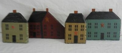 4-pc Hand Painted Slate Roof Tiles with Rustic Country Home Charm, Shelf Display