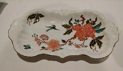 Vintage James Kent England Old Foley Chinese Rose Bird Butterfly  Tray 11.5  x 6