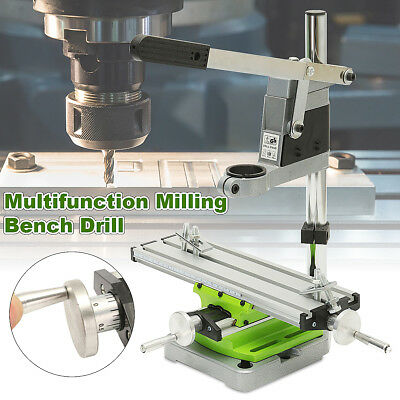 2 Axis Milling Working Table Cross Sliding Bench Drill Vise Fixture +Drill Stand