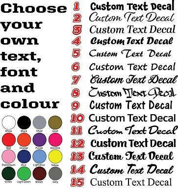 CUSTOM TEXT Personalised Name Lettering Funny Car/Van/Window Decals 2x 300mm