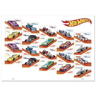 USPS New Hot Wheels Pane of 20