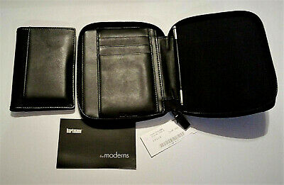 "New ""hartmann"" Pda /cell Phone 2-Pc Genuine Black Leather Zipper Case $60 Value!"
