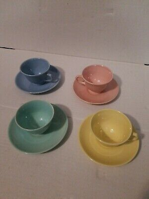 Luray Pastels Lu-Ray USA Tea Cups & Saucers SET OF 4