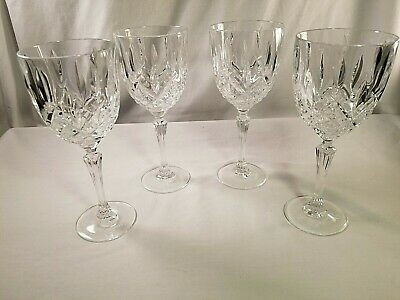 4 Marquis by Waterford Crystal Markham Wine / Water Goblets Glasses  Etched Base