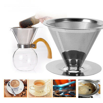 Stainless Steel Pour Over Cone Dripper Coffee Filter Cup Stand Tea Strainer JS