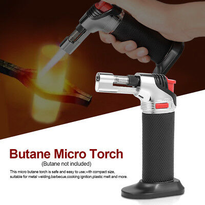 Jet Torch Gun Lighter Gas Trip Flame Windproof Refillable Micro Butane Black NEW