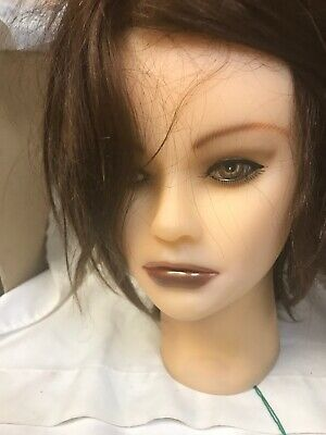 "Clic Cosmetology School Mannequin Head ""tiffany"" 100% Human Hair Sc3203B Makeup"