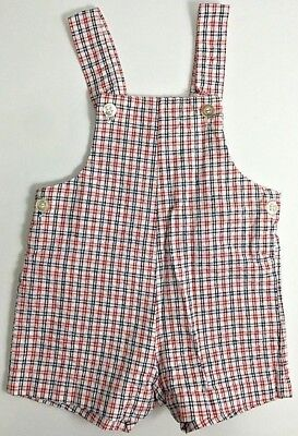 Vintage Baby Boy Romper Overalls Red White Blue Plaid 3-6 Months