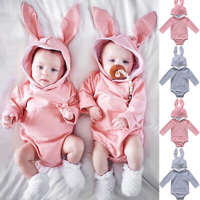 UK 100% Cotton Cute Newborn Baby Girl Boy Long Sleeve Bunny Hooded Romper Outfit