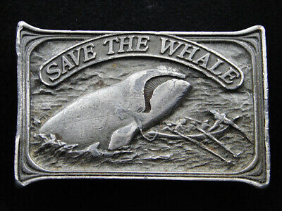Rh13137 Vintage 1976 **Save The Whale** (Right Whale) Commemorative Belt Buckle