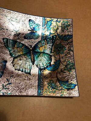 """Plate-Cozenza Collection-Radiant Butterflies (10.5"""" Square) AngelStar"""