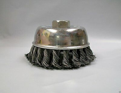 """3"""" Knotted Wire Cup Brush, Coarse, 5/8""""-11 Thread"""