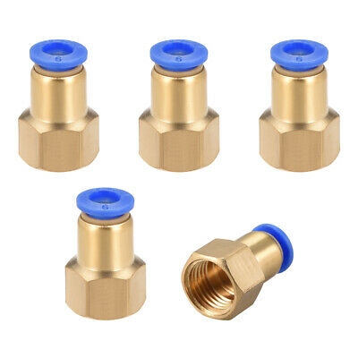 "Push to Connect Tube Fitting Adapter 6mm OD x G1/4"" Female 5pcs"