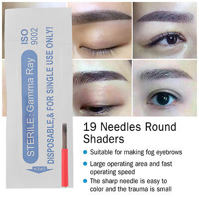 50 Permanent Makeup Microblading Eyebrow Shader Round Tattoo Microblade Needles