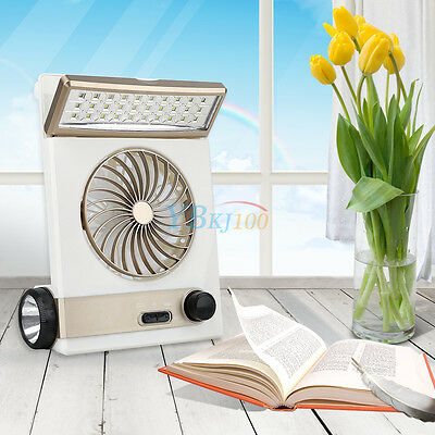 3 in 1 Multi-function Rechargeable Solar Power Fan LED Table Lamp Flashlight New