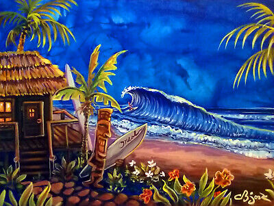 Rescued Tiki Hula Hot Lava Surf Hawaiian Island Art Painting CBjork PRINT