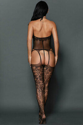 Catsuit bodystocking donna nero sexyshop intimo lingerie completino TU