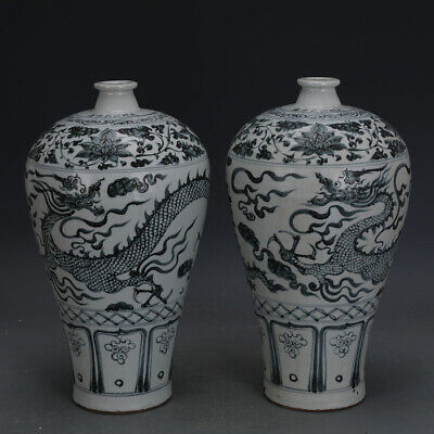 A Pair Nice Chinese Ming Dynasty Hong Wu Blue White Porcelain Dragon Vase