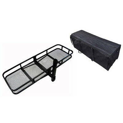 """60"""" Hitch Mounted Cargo Carrier Luggage Basket with Waterproof Bag 500 lbs"""