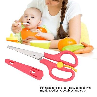 Stainless Steel Food Cutter Tool 3 Color Baby Food Scissors Easy Clean Portable
