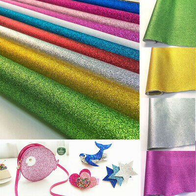 Glitter Faux Leatherette Vinyl Fabric Sheet Hair Bow DIY Decoration Crafts A4