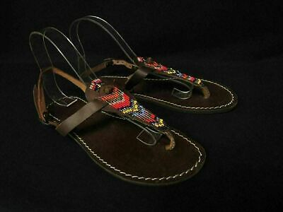 8dadc8f13ba57 LAIDBACK LONDON BROWN Leather Lucas Beaded Flat Sandals Size 38 7.5 ...