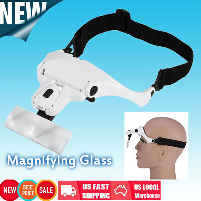 5 Lens Headset Magnifier Magnifying Glass Eyelash Extension with LED Light