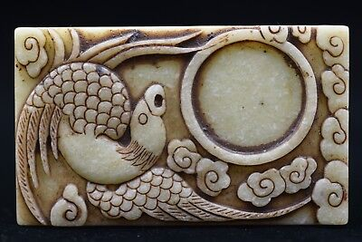 """Chinese antiques Old Jade hand-carved /""""mandarin duck/"""" Ink stone M753"""